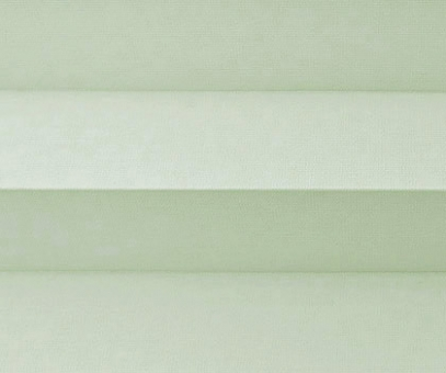 Plissee Donata weiß-leicht-pastellgrün Verdunkelung, Sonnenschutz Hitzeschutz, Rückseite Perlmutt, PG3