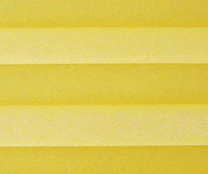 Plissee Angela gelb lichtdurchlässig blickdicht/Sichtschutz/Sonnenschutz. Kreppstruktur, PG0