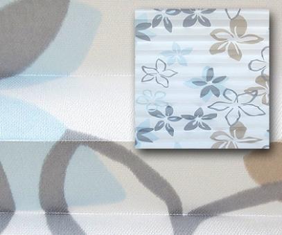 Plissee Donata weiß/blau/taupe licht- durchlässig/blickdicht Dekoration/Blumendekor, PG3