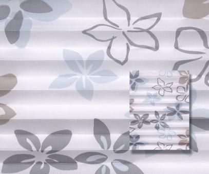 Plissee weiß/blau/taupe lichtdurchlässig/blickdicht Dekoration Blumendekor PG2