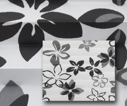 Plissee Donata weiß/schwarz lichtdurchlässig/blickdicht Dekoration/Blumendekor, PG3