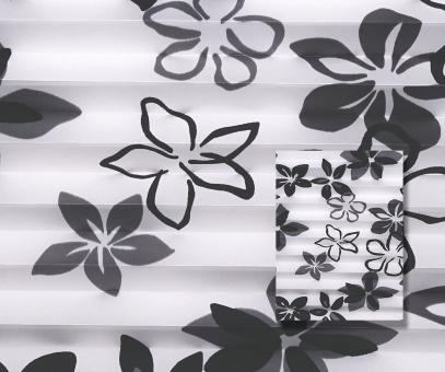 Plissee Isabella weiß/schwarz lichtdurchlässig/blickdicht Dekoration/Blumendekor PG2