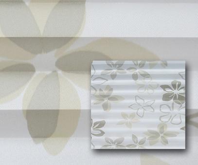 Plissee Donata weiß/beige lichtdurchlässig/blickdicht Dekoration/Blumendekor, PG3
