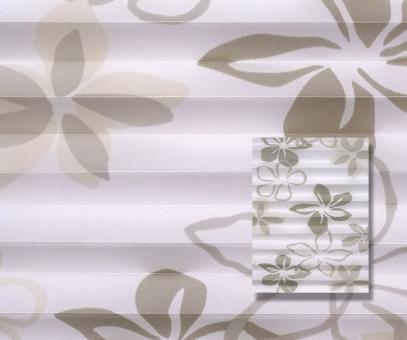 Plissee weiß/beige lichtdurchlässig/blickdicht Dekoration/Blumendekor PG2