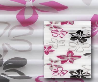 Plissee Donata weiß/pink lichtdurchlässig/blickdicht Dekoration/Blumendekor, PG3