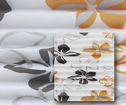 Plissee Donata weiß/orange lichtdurchlässig/blickdicht Dekoration/Blumendekor, PG3