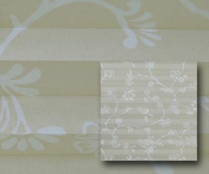 Plissee Donata beige blickdicht/Sichtschutz/Dekoration, Blumen Dekor, PG3