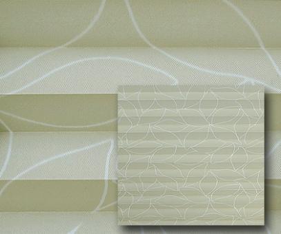 Plissee Donata beige blickdicht/Sichtschutz/Dekoration, Blatt Muster-Dekor, PG3
