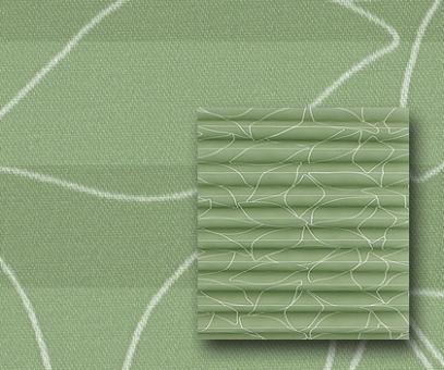 Plissee Donata grün blickdicht/Sichtschutz/Dekoration, Blatt Muster-Dekor, PG3