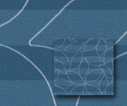 Plissee Donata blau blickdicht/Sichtschutz/Dekoration, Blatt Muster-Dekor, PG3