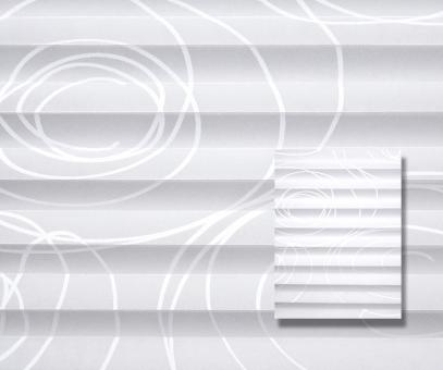 Plissee cosiflor weiß blickdicht/Sichtschutz/Dekoration Kreis Linien Muster Dekor PG3