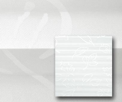 Plissee Donata weiß blickdicht/Sichtschutz/Dekoration, Blatt Muster-Design, PG3