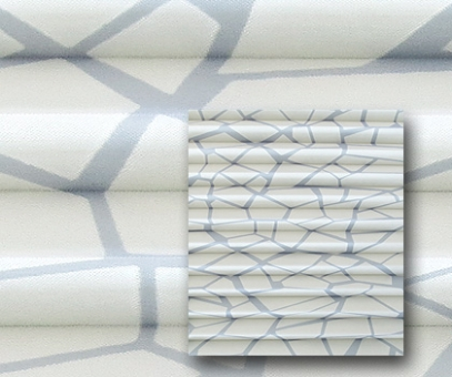 Plissee Vanessa weiß transparente Fenster Dekoration, Ausbrenner Musterstoff,  PG4