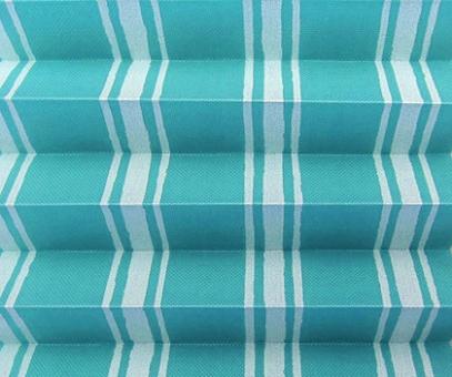 Rollo Donata türkis lichtdurchlässig blickdicht, Streifen Muster, Dekor Plissee, PG3