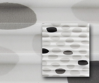 Rollo Isabella grau/weiß lichtdurch- lässig blickdicht, Punkte Muster, Dekor Plissee, PG2