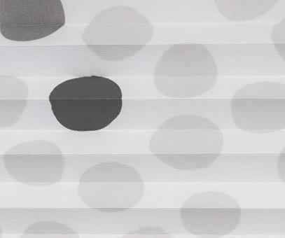 Plissee Loretta grau weiß lichtdurchlässig blickdicht Punkte Muster Dekor Plissee PG1