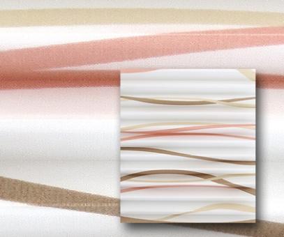 Rollo Isabella beige/rosé/weiß lichtdurch- lässig blickdicht, Wellen Muster, Dekor Plissee, PG2