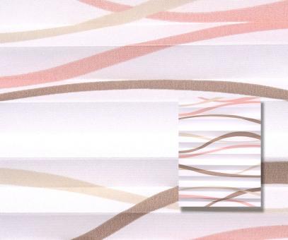 Plissee beige rosé weiß lichtdurchlässig blickdicht, Wellen Muster Dekor Plissee PG1