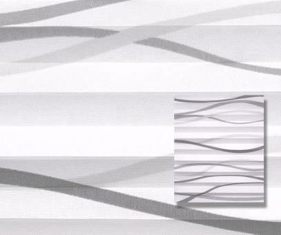 Plissee Rollo weiß/grau lichtdurchlässig blickdicht Wellen Muster Dekor Plissee PG1