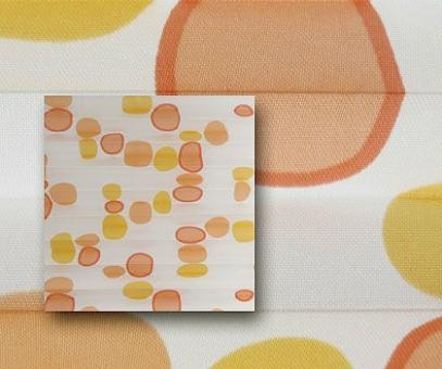 Plissee Rollo SALE% so günstig, orange/weiß, lichtdurchlässig blickdicht, Bubbles Dekor PG0