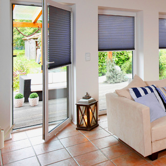 Wohnzimmer Plissee Terrassentür